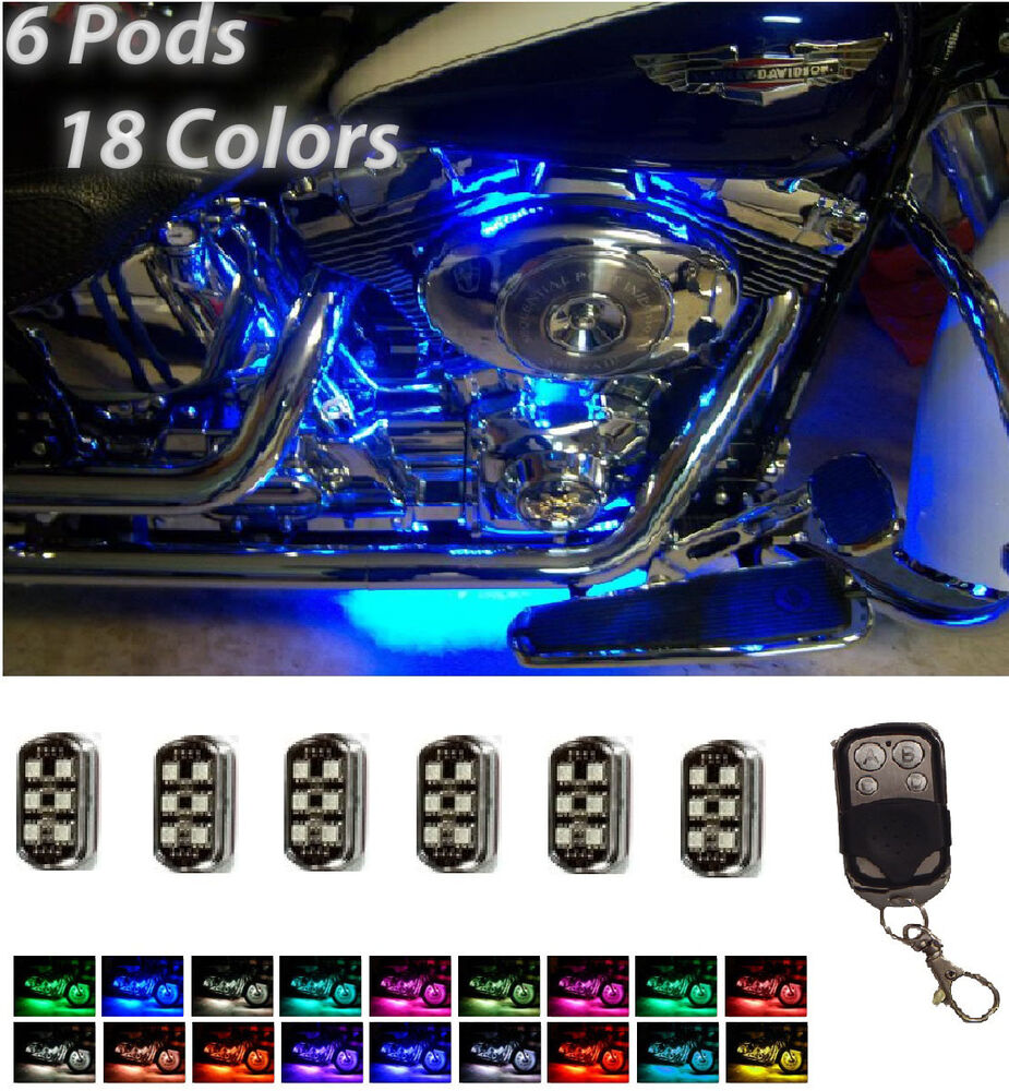 softail remote led neon underbody accent lights 6 pod kit ebay. Black Bedroom Furniture Sets. Home Design Ideas