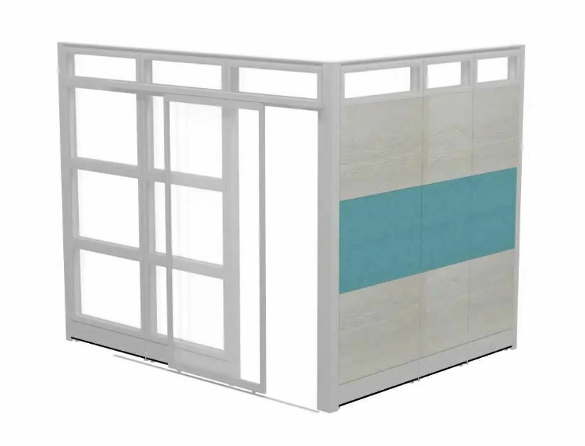 Office Glass Partition Walls Panels : Modular office glass cubicle with doors contemporary