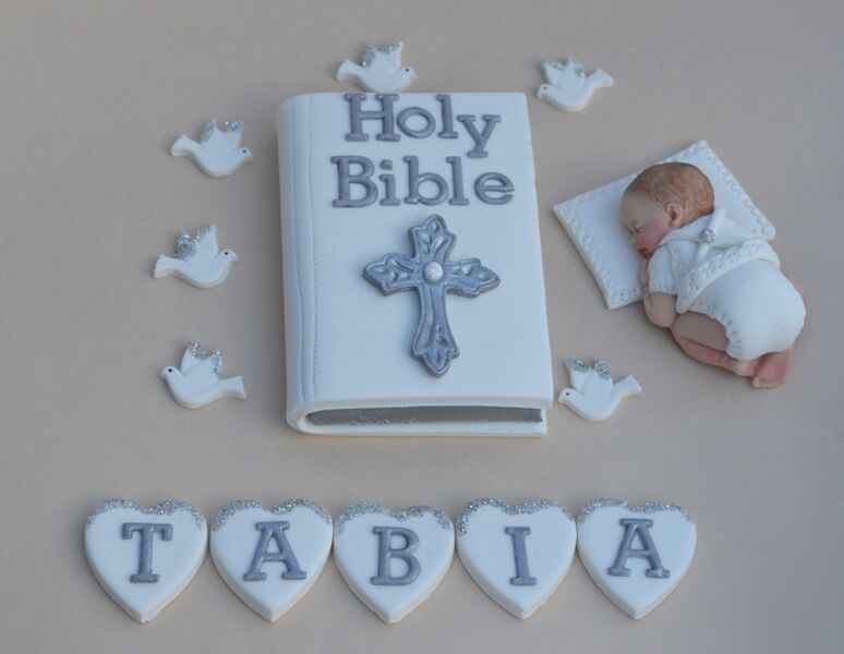Cake Decorations For Christening Cake : Edible baby Christening / Baptism cake topper Bible cake ...