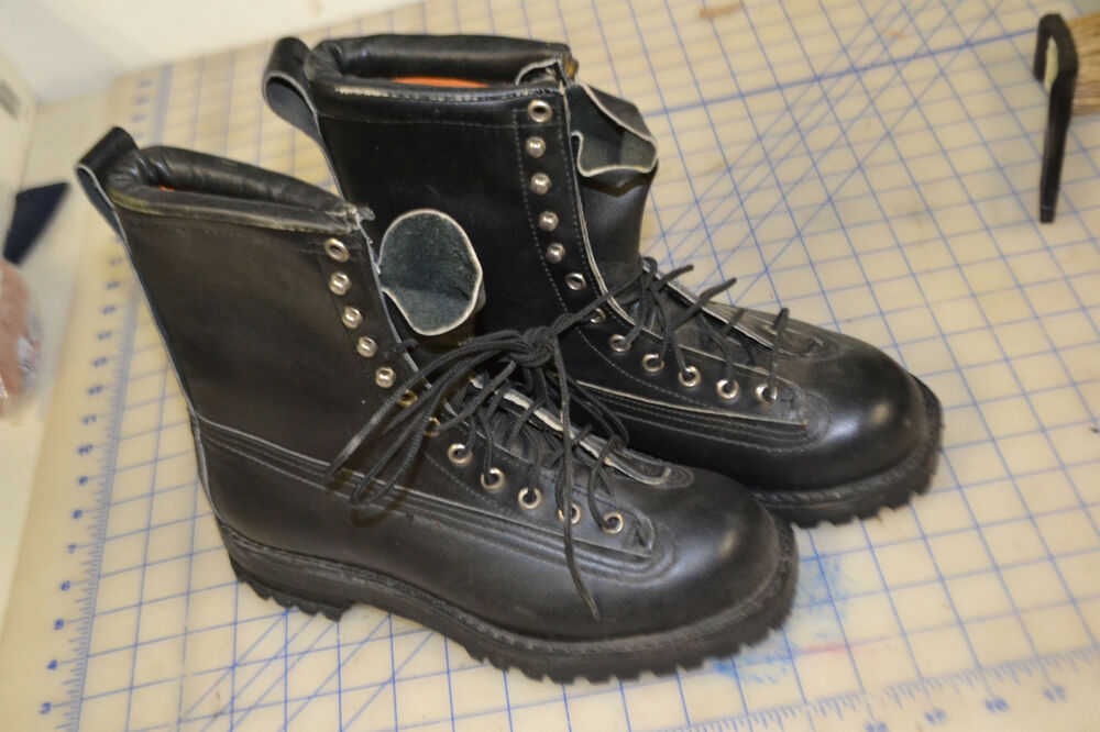 Us Military Mountain Boots 5 1 2d Pair Ski Black Leather