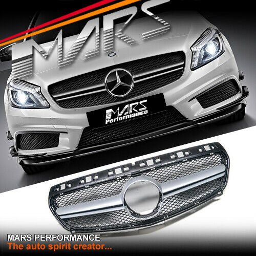 silver black amg a45 style bar grille grill for mercedes. Black Bedroom Furniture Sets. Home Design Ideas