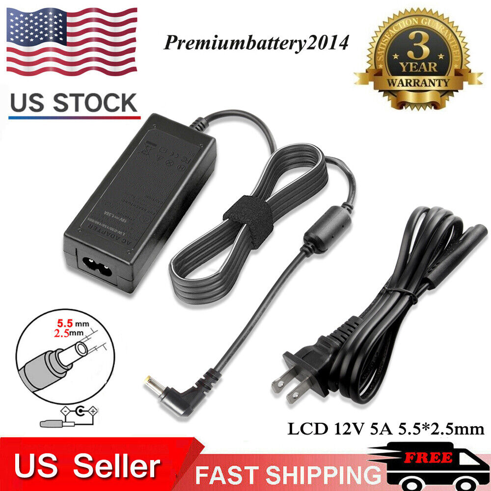 new lcd ac power supply adapter dc 12 volt 5 amp 12v 5a lcd monitor laptop ebay. Black Bedroom Furniture Sets. Home Design Ideas