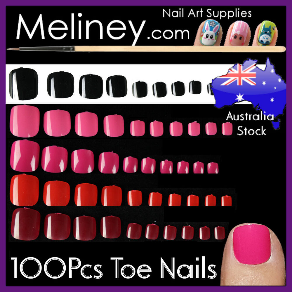 100pc colour toe nails full cover tips pedicure false art for Acrylic toe nails salon