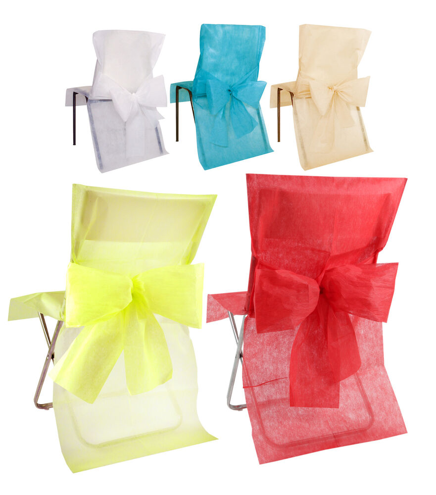 Pack 10 Disposable Chair Covers With Bow Sash Wedding e Dine Christmas