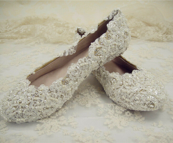 Lace And Pearl Wedding Shoes Uk
