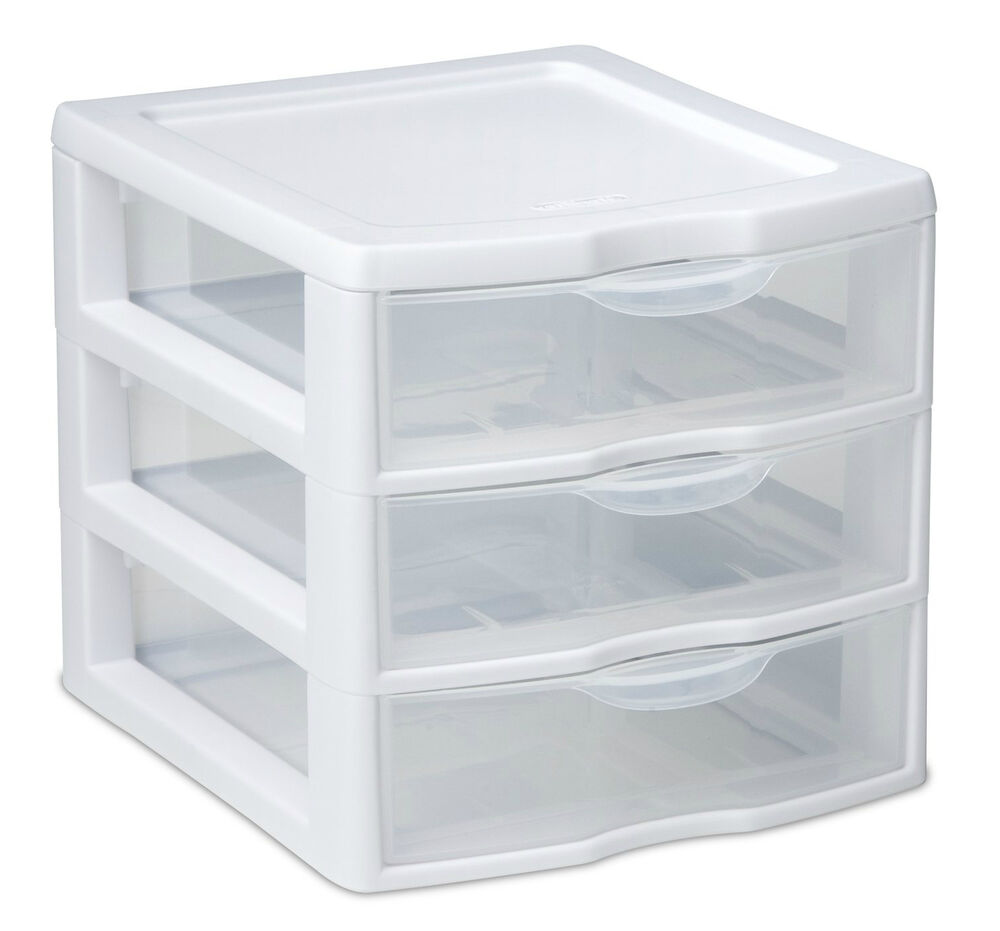 3 drawer organizer mini unit small pieces storage white and clear front plastic ebay. Black Bedroom Furniture Sets. Home Design Ideas