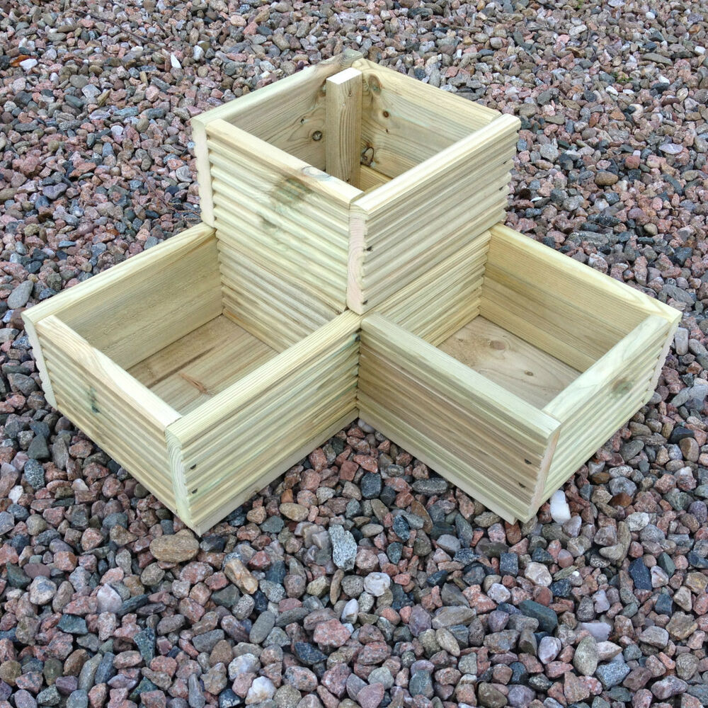 Large corner l shaped wooden garden planter box trough for Garden planters