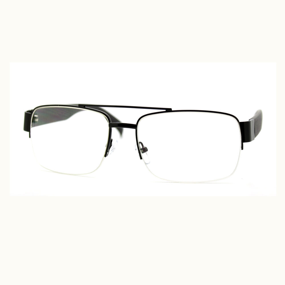 Large Rectangular Glasses Frame : Mens Clear Lens Glasses Flat Top Half Rim Rectangular ...