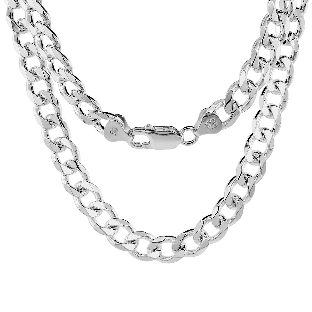 sterling silver 8mm heavy italian cuban curb link chain. Black Bedroom Furniture Sets. Home Design Ideas