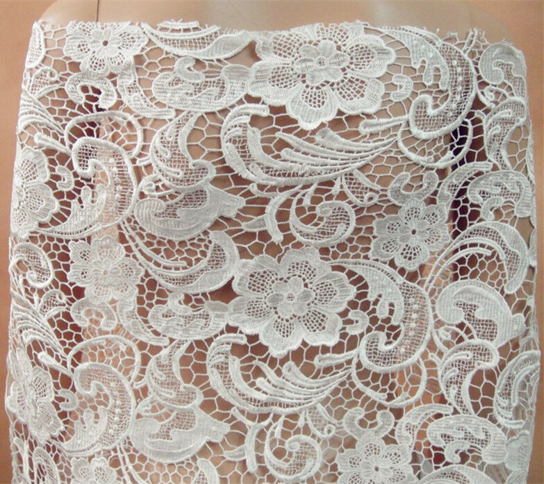 Stunning ivory guipure embroidery lace fabric 47 wide for for Wedding dress lace fabric