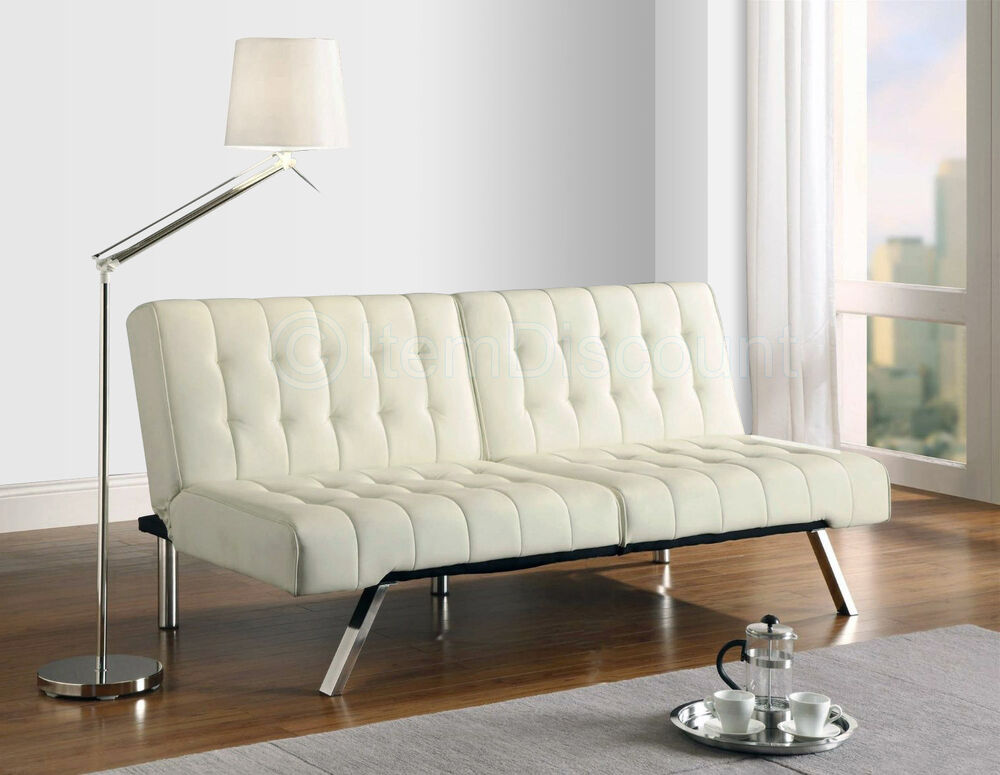 Off White Leather Tufted Futon Folding Couch Sofa