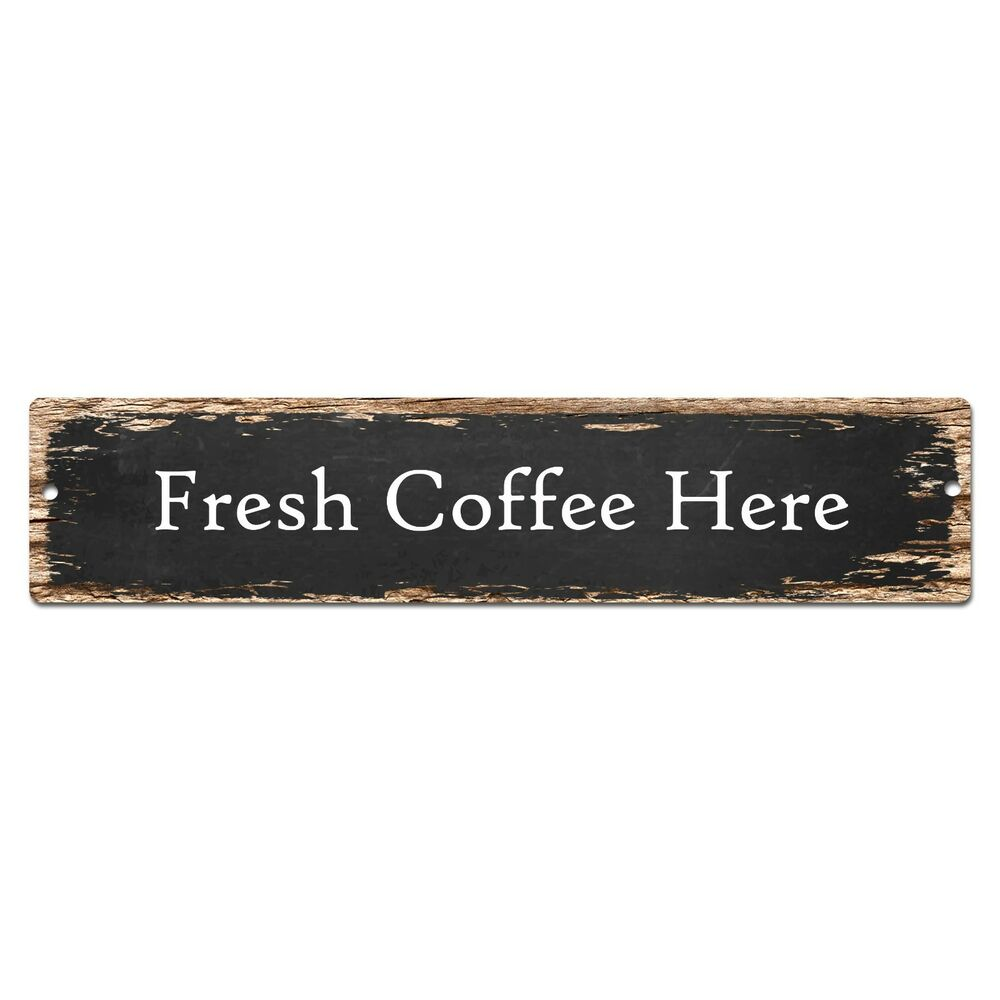 Sp fresh coffee here street plate sign bar store cafe
