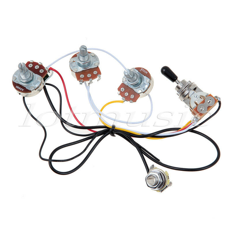 guitar wiring harness with 2 volume 1 tone pots 500k 3 way ... wire toner wiring harness wire works wiring harness