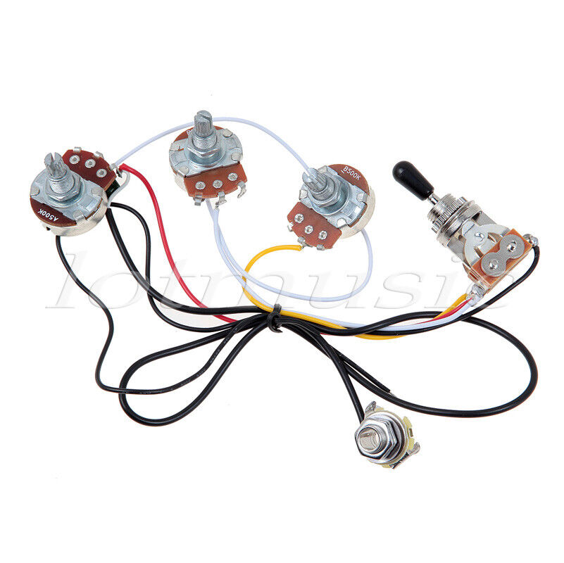 guitar wiring harness with 2 volume 1 tone pots 500k 3 way toggle switch chrome ebay. Black Bedroom Furniture Sets. Home Design Ideas