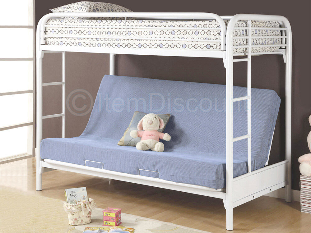 White Twin Over Full Futon Bunk Bed Day Metal Sofa Couch