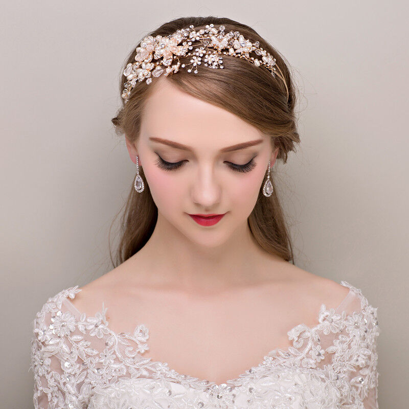 Wedding Bridal Princess Headband Tiara Gold Pearl
