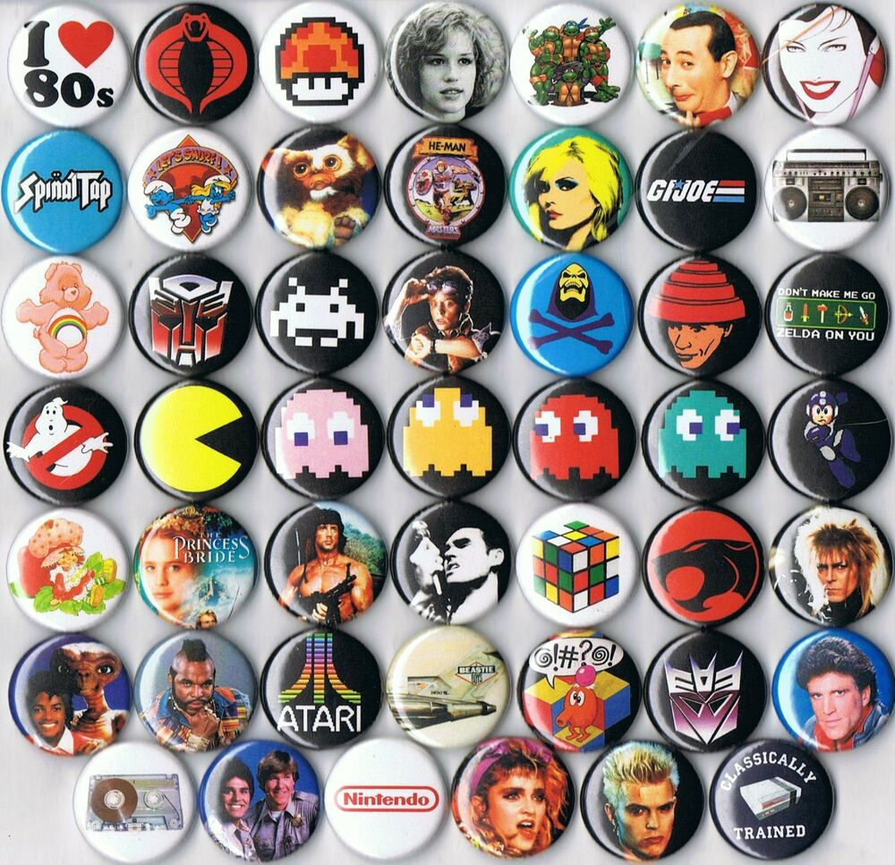 huge lot 1980s themed party favor pins buttons badges ...