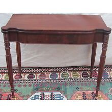 19TH C SHERATON MAHOGANY ANTIQUE GAME CARD TABLE CONSOLE ~~ PORTSMOUTH NH