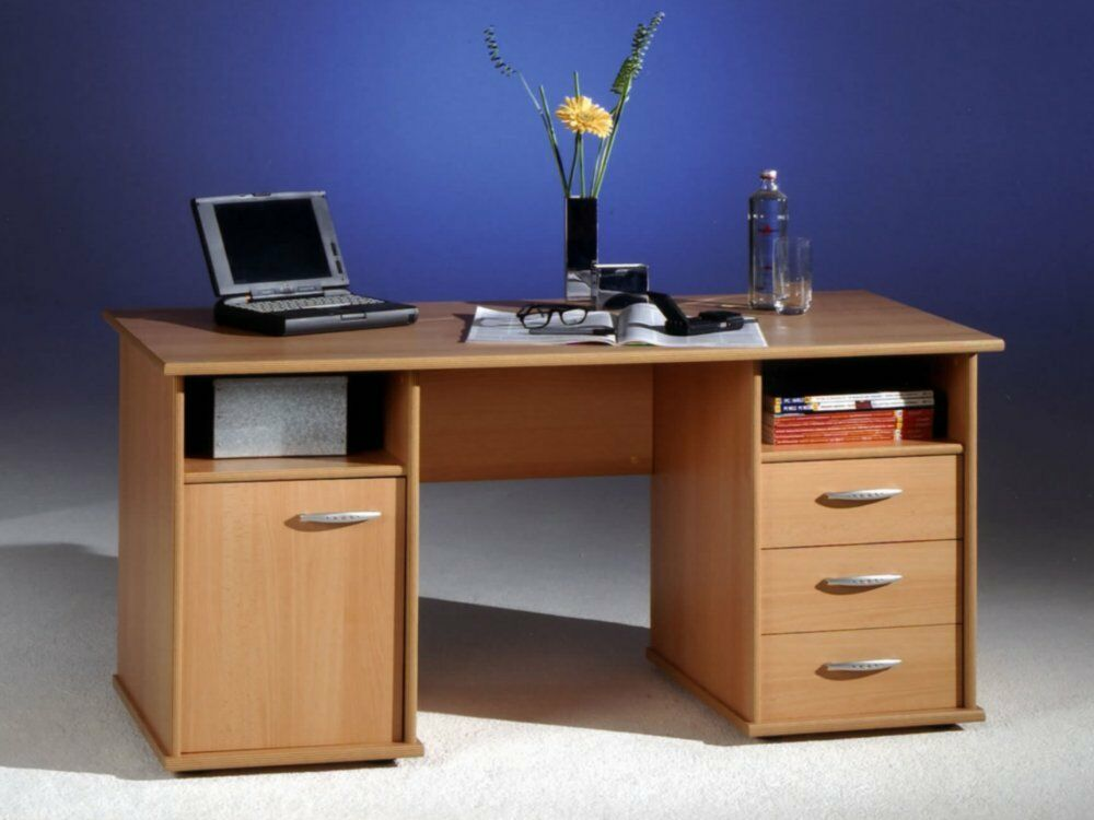 schreibtisch computertisch b ro pc tisch home office buche neu ebay. Black Bedroom Furniture Sets. Home Design Ideas