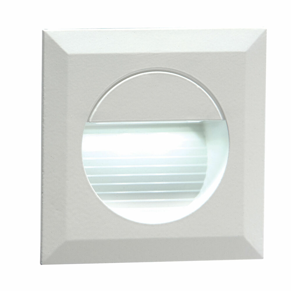 1 X NH019W Recessed IP54 Round Indoor Outdoor LED Guide Stair Wall Light Wh