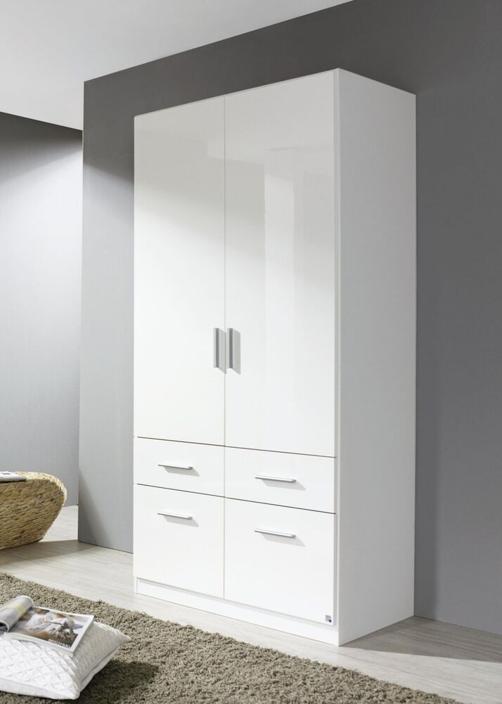kleiderschrank 2 trg schubk sten schrank weiss hochglanz neu ebay. Black Bedroom Furniture Sets. Home Design Ideas