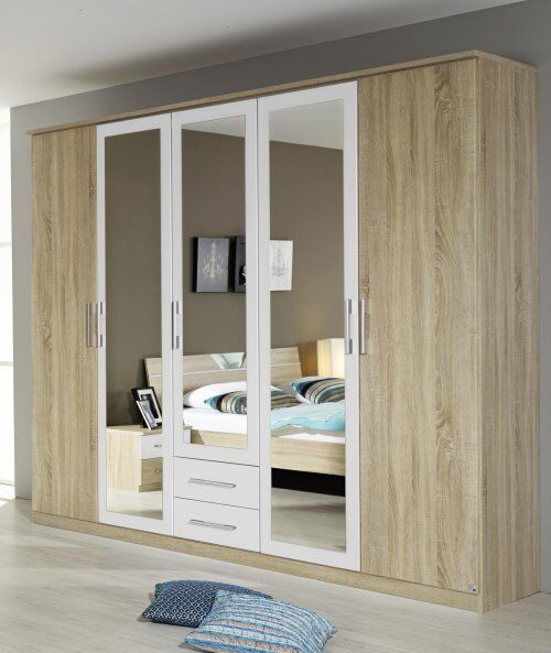 kleiderschrank 5 trg dreht renschrank schrank sk spiegel eiche sonoma weiss neu ebay. Black Bedroom Furniture Sets. Home Design Ideas