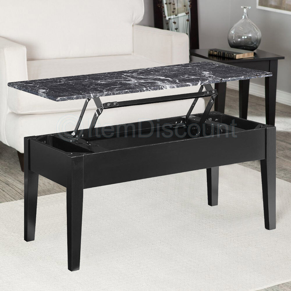 Black Faux Marble Lift Top Coffee Table End Laptop Stand Tv Dinner Tray Storage Ebay