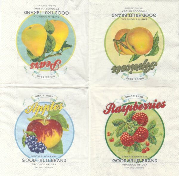 Lot de 4 Serviettes papier Panier de Fruits Raisin Poire Prune Decoupage Collage