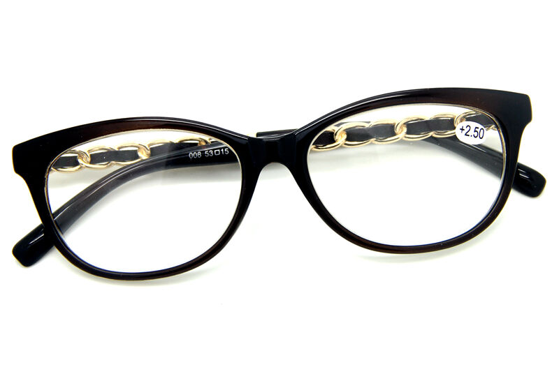 Large Frame Retro Reading Glasses : Classic Vintage Big Frame Gold Chain Temple Clear Reading ...
