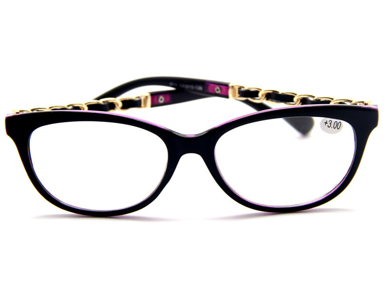 Large Frame Ladies Reading Glasses : Retro Big Round Horned Frame Gold Chain Temples Reading ...