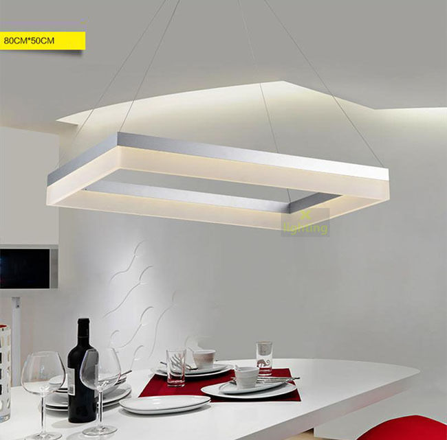 Modern Led Ring Pendant Light Rectangle Ceiling Lamp
