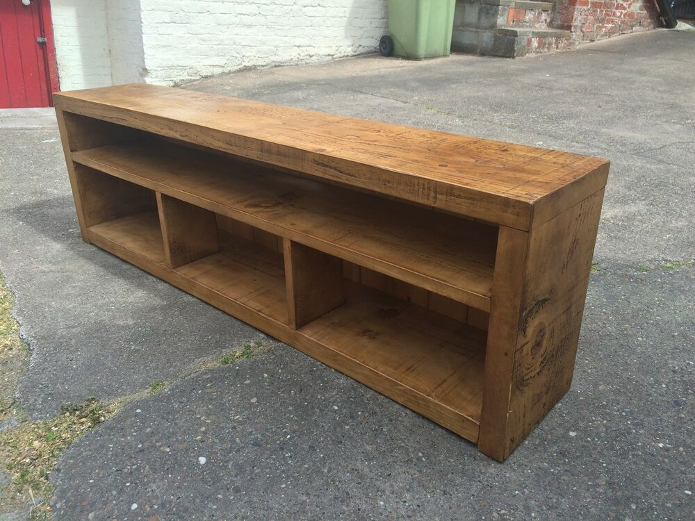 RUSTIC CHUNKY PLANK TV STAND ENTERTAINMENT MEDIA UNIT
