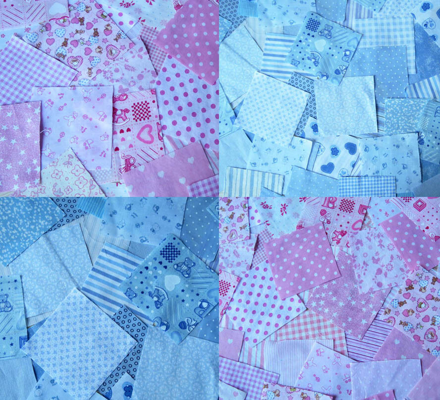 Nursery fabric patchwork squares 4 x 4 in baby pink or for Nursery fabric uk