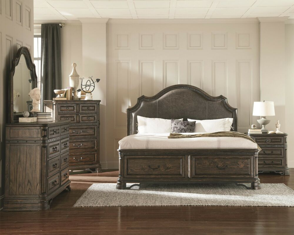 bedroom set of upholstered headboard bed in queen king size in dark