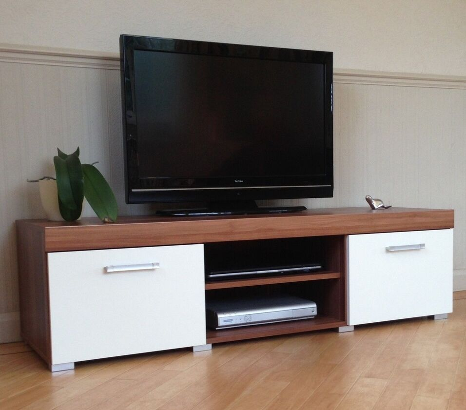 tv stand storage dvd cd cupboard cabinet door sideboard shelf unit white walnut ebay. Black Bedroom Furniture Sets. Home Design Ideas