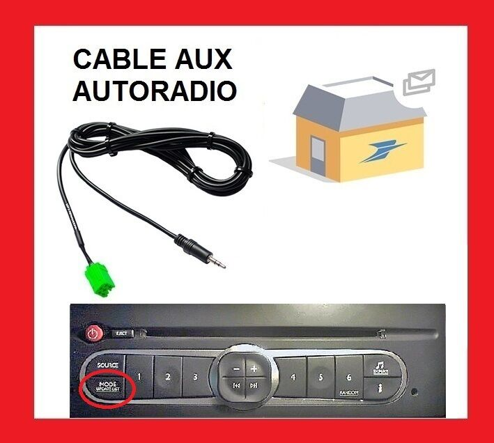 cable jack aux 3 5 autoradio renault megane 2 clio 2 3. Black Bedroom Furniture Sets. Home Design Ideas