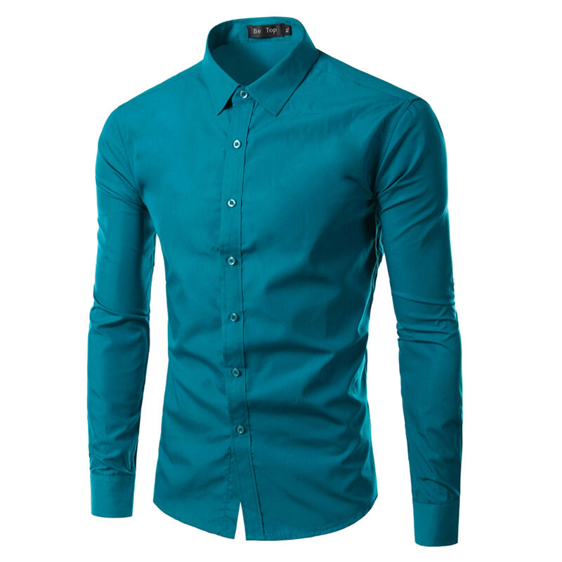 Mens Casual Slim Fit Tops Stylish Spread Collar Clothing