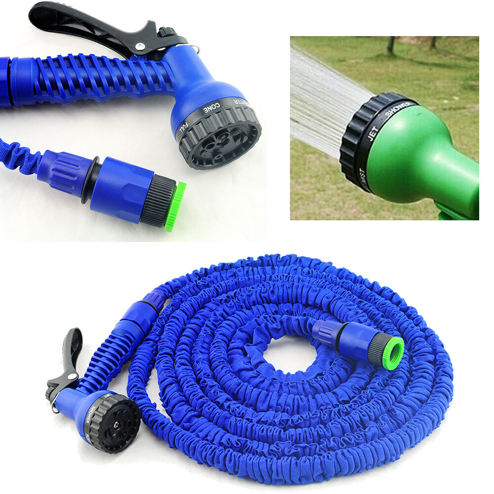 Latex 125 150 200 ft feet expanding flexible garden water hose with spray nozzle ebay Expandable garden hose 100 ft
