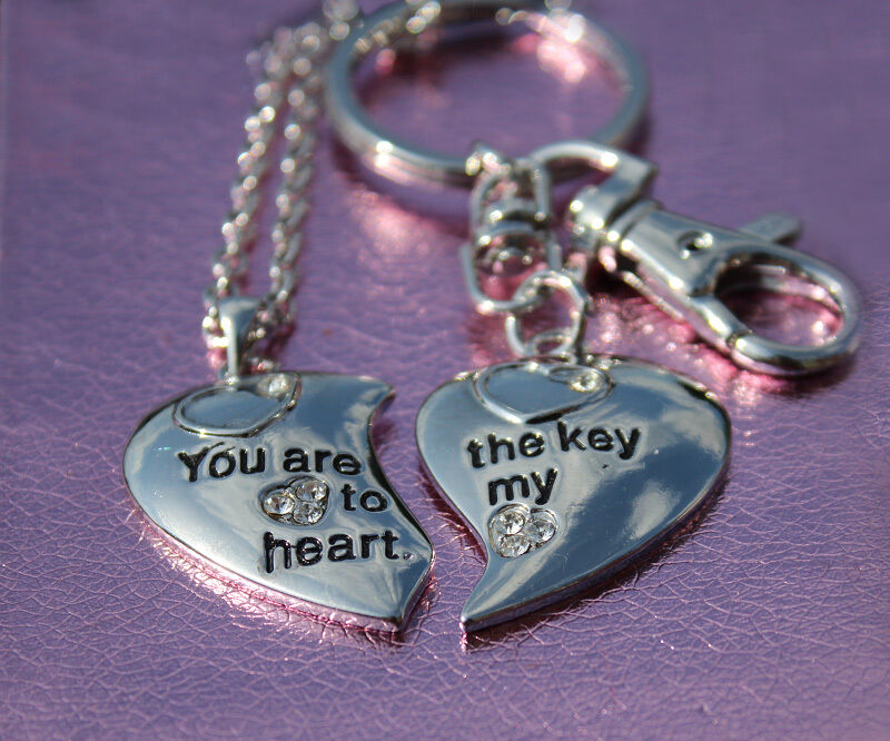 His Amp Hers Key To My Heart Couples Necklace Key Ring Xmas