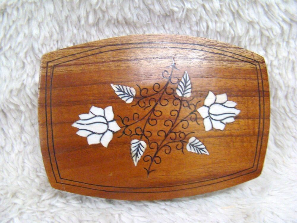 wooden flowered trinket box hand carved and hand painted made in india ebay. Black Bedroom Furniture Sets. Home Design Ideas