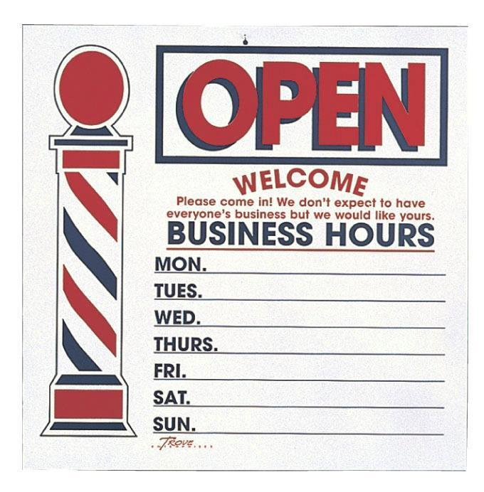 Large Two Sided Open Close Business Hours Sign For Barbers