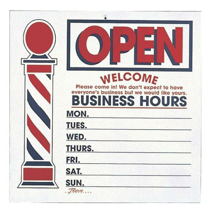 Barber Shop Hours : ... OPEN CLOSE BUSINESS HOURS SIGN FOR BARBERS HAIR CUT SALON USE eBay