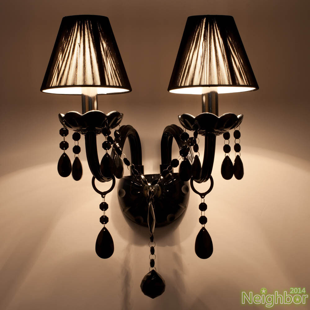 Living Room Crystal Wall Sconces : Modern Black Crystal LED Wall Lamp Wall sconce Light Living room lighting eBay