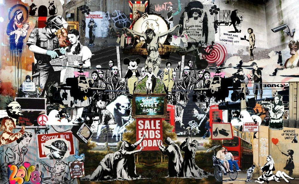 banksy street art canvas print collage montage 24 x16 stencil poster australia ebay. Black Bedroom Furniture Sets. Home Design Ideas