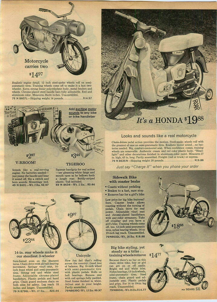 1965 Advert Toy Honda Motorcycle Chain Driven Scoot