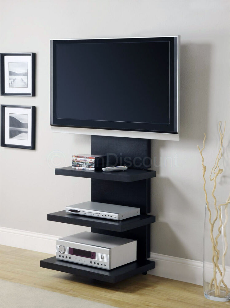 60 black tv stand wall mount floating entertainment center media console 55 32 ebay. Black Bedroom Furniture Sets. Home Design Ideas