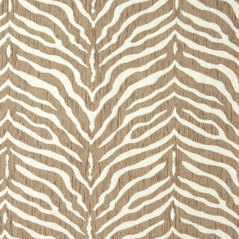 Zebra natural beige and white animal print chenille for Patterned material fabric