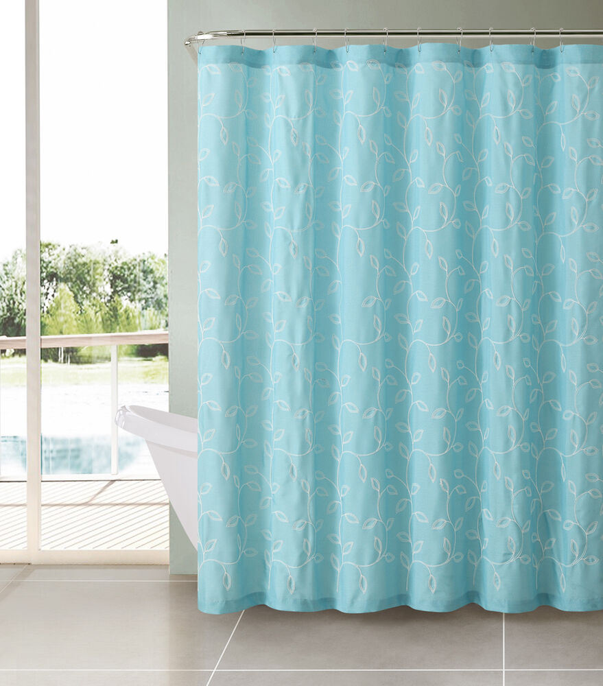 aqua aquamarine turquoise blue caleb embroidered leaves fabric shower
