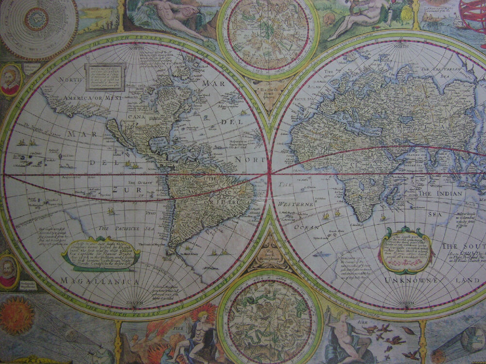 REPRINT OF NEW AND ACCURATE MAP OF WORLD 1651 FRAMED MADEBY ENGLISH OR STRANG