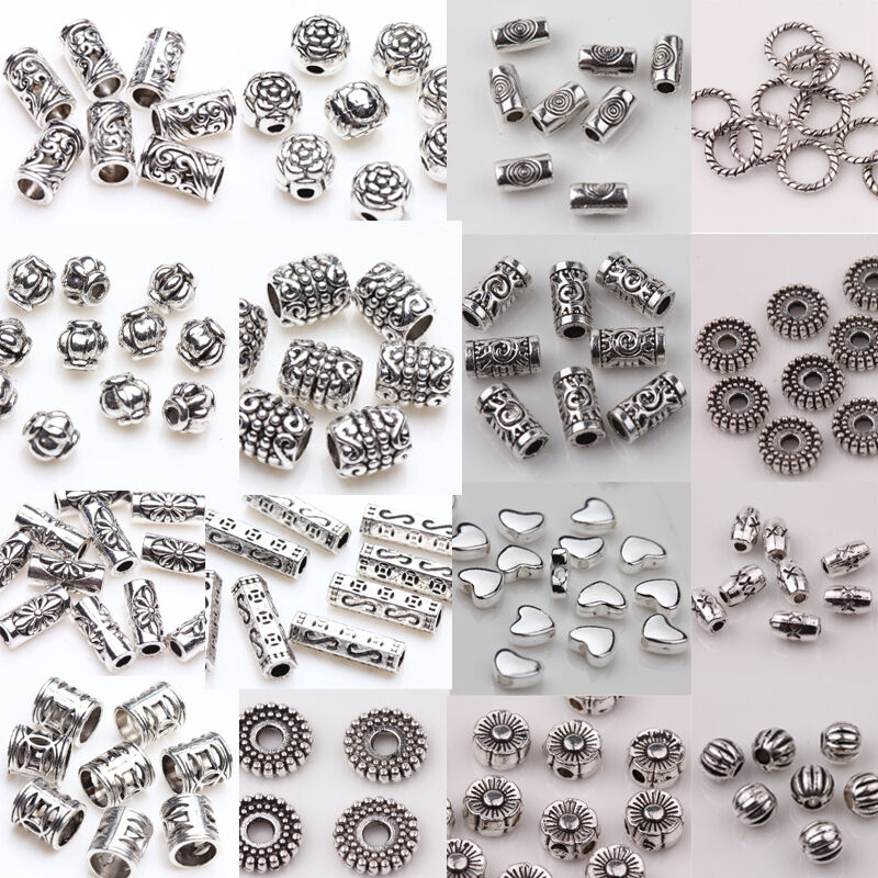 wholesale 50 100pcs silver plated spacer